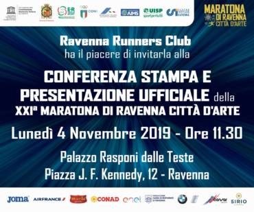 MONDAY 4 NOVEMBER OFFICIAL PRESENTATION OF RAVENNA MARATHON CITY OF ART 2019