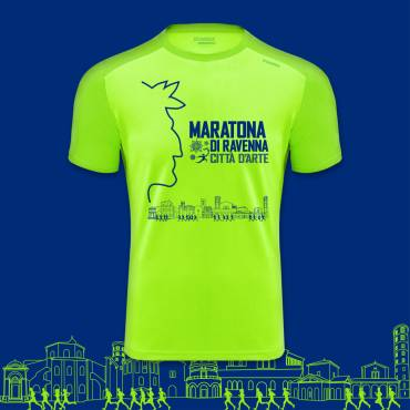 The official t-shirt of Ravenna Marathon 2020, a tribute to Dante Alighieri and history