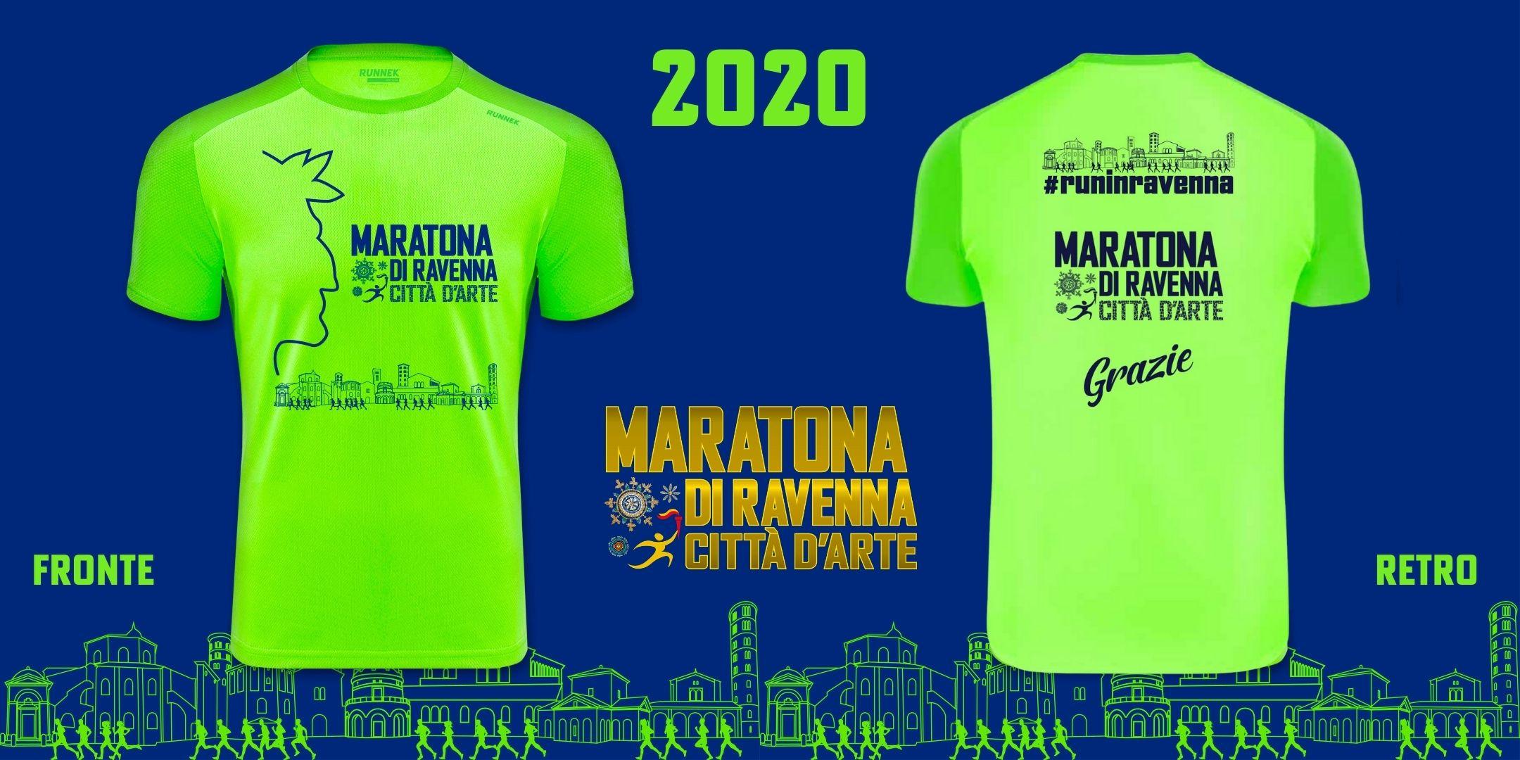 La t-shirt ufficiale della Maratona di Ravenna 2020, omaggio a Dante Alighieri e alla storia